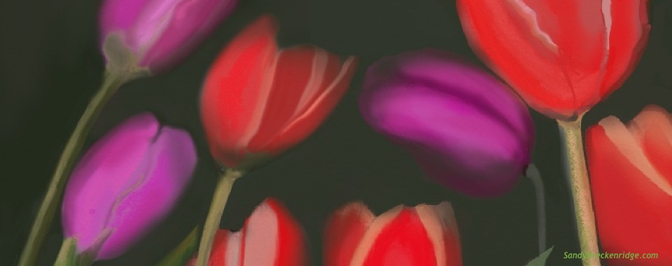 Tulips in the Dark Digital Art Painting by Sandy Breckenridge