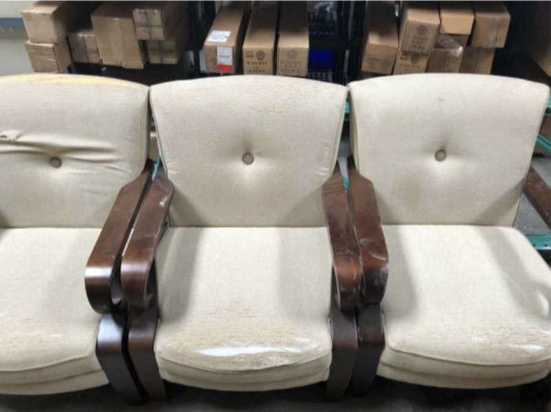 The old salvaged armchairs