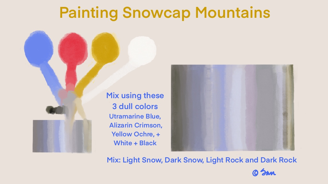 Mixing colors for Snowcap mountains